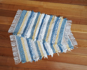 "20"" x 32"" & 20"" x 31""- Country Blue & Yellow - Set of 2 - U. S. HAND WOVEN Small Area Rag Rugs"