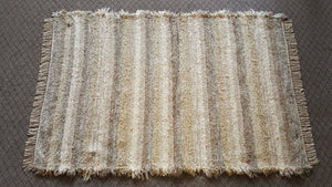 "4' x 6' 1"" Tan & Creme U. S. HAND WOVEN Large Area Textured Rag Rug"