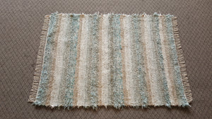 "Bedroom, Nursery, Entry Way or Dorm Room Rug - 4' x 5' 4""  Aqua & Tan"