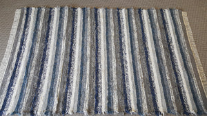 "6' x 9' 4"" Navy & Gray U. S. HAND WOVEN Large Area Textured Rag Rug"