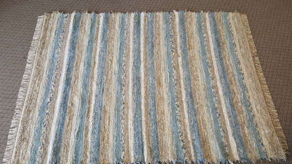 6' x 8' Country Blue & Tan U. S. HAND WOVEN Large Area Textured Rag Rug