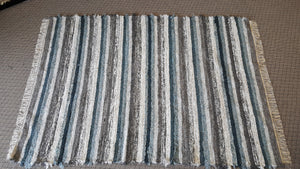 6' x 8'  Teal & Gray U. S. HAND WOVEN Large Area Textured Rag Rug