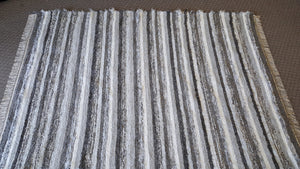 7' x 9' Gray & Silver U. S. HAND WOVEN Large Area Textured Rag Rug