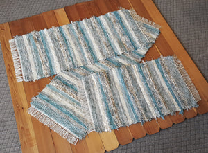 "Kitchen or Bedroom Runners & Medium Rug Set - 24"" x 62"" & 24"" x 55"" & 24"" x 39"" - Aqua, Tan & Ivory"