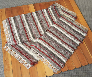 "Kitchen or Bedroom Runner & 2 Medium Rugs Set - 28"" x 62"" & 28"" x 44"" & 28"" x 50"" - Deep Red & Earthtone"