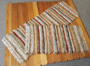 "28"" x 6' 2"" & 28"" x 49"" Burnt Orange -Set of 2 - U. S. HAND WOVEN Rug Runner & Medium Area Rag Rug"