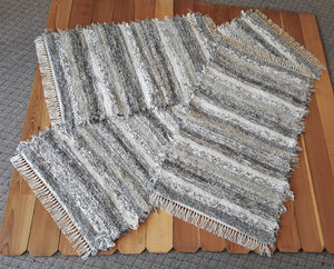 "28"" x 6' 3"" & 28"" x 47"" & 28"" x 42"" - Grey & Earthtone -Set of 3 - U. S. HAND WOVEN Rug Runner & Medium Area Rag Rugs"