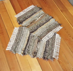 "20"" x 25"" & 20"" x 25""- Olive & Taupe -Set of 2 - U. S. HAND WOVEN Small Area Rag Rugs"