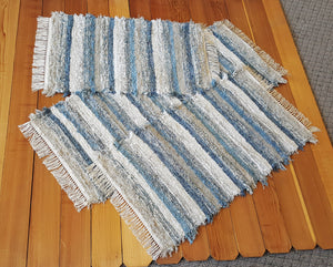 "24"" x 56"" & 24"" x 44"" & 24"" x 37""- Dusty Blue & Gray  -Set of 3- U. S. HAND WOVEN Medium Area Rag Rugs"