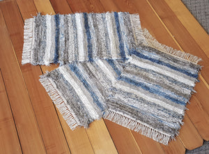 "20"" x 32"" & 20"" x 32"" & 20"" x 25""- Dusty Blue & Gray  -Set of 3- U. S. HAND WOVEN Small Area Rag Rugs"