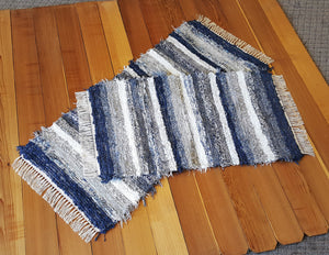 "Kitchen or Bedroom Rug Set - 24 "" x 55"" & 24"" x 42""-Navy & Gray"