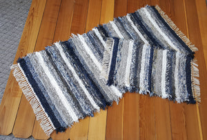"28"" x 61"" & 20"" x 31""-Navy & Gray -Set of 2 - U. S. HAND WOVEN Runner Rug & Small Area Rag Rugs"