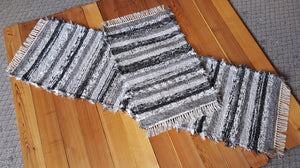 "Kitchen Runner & Medium Rug Set - 24"" x 6' 6"" & 24"" x 37""- Black, Gray & White"