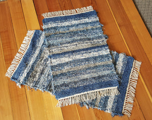 "Kitchen, Bedroom or Door Entry Rug Set - 24"" x 42"" & 24"" x 36"""" - Country Blue"