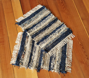 "20"" x 24"" & 20"" x 24""- Navy & Earthtone - Set of 2 - U. S. HAND WOVEN Small Area Rag Rugs"