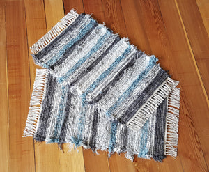 "20"" x 30"" & 20"" x 30""  Aqua, Gray & White- Set of 2 - U. S. HAND WOVEN Small Area Rag Rugs"