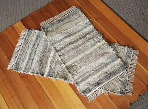 "24"" x 53"" & 24"" x 44""- Set of 2- Gray & Earthtone- U. S. HAND WOVEN Medium Area Rag Rugs"