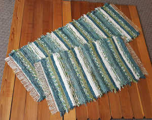 "Kitchen or Bedroom Runner & Medium Rug Set - 28"" x 68"" & 28"" x 48"" - Teal & Celery"