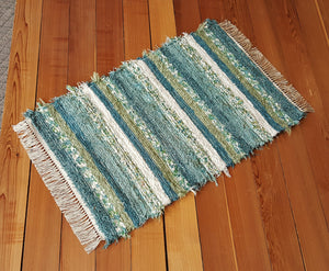 "Kitchen, Bedroom, Bathroom or Door Entry Rug - 28"" x 44"" Teal & Celery"