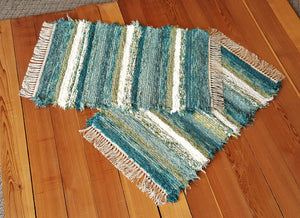 "Kitchen, Bedroom or Door Entry Rug Set - 24"" x 38"" & 24"" x 36"" - Teal & Celery -Set of 2"
