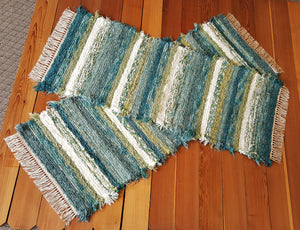 "Hallway or Kitchen Runner Rug Set - 24"" x 62"" & 24"" x 56"" - Teal & Celery"