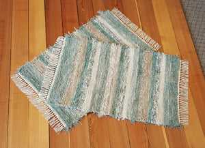 "Kitchen, Bedroom or Door Entry Rug Set - 24"" x 37"" & 24"" x 37"" Aqua, Tan & Oatmeal"