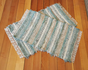 "Kitchen, Bedroom or Door Entry Rug Set - 28"" x 46"" & 28"" x 42"" Aqua, Tan & Oatmeal"