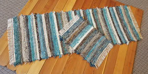 "Kitchen or Bedroom Runner & Small Rug Set - 28"" x 6' 5"" & 20"" x 25"" -Teal, & Chocolate"