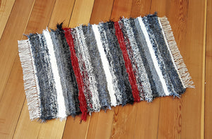 "Kitchen, Bedroom or Door Entry Rug - 24"" x 35"" - Red, Black, Gray & White"