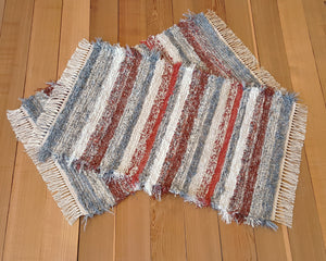"Kitchen, Bedroom or Door Entry Rug Set - 24"" x 38"" & 24"" x 38"" Paprika, Brick Red,,  Gray & Oatmeal"
