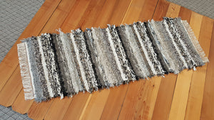 "Kitchen or Hallway Runner Rug - 24"" x 65"" - Black, Gray, Tan & Oatmeal"