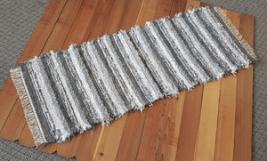 "Kitchen, Bathroom or Hallway Runner Rug - 28"" x 6' 3"" Gray, Silver & White"