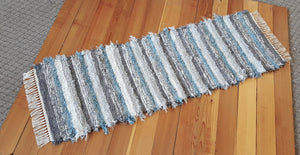 "Kitchen or Hallway Runner Rug - 24"" x 72"" Aqua, Gray & Silver"
