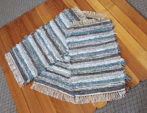 "Kitchen or Bedroom Rug Set - 24"" x 43 & 24"" x 43"" & 24"" x 36""- Aqua, Gray & White"