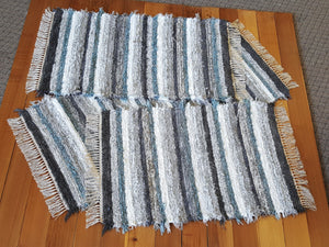 "Kitchen or Bedroom Runner & 2 Medium Rugs Set - 28"" x 61"" & 28"" x 48"" & 28"" x 42"" - Aqua, Gray & White"