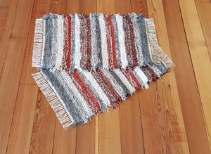 "Kitchen, Bathroom or Door Entry Rug Set - 20"" x 31"" & 20"" x 31"" - Brick Red, Paprika & Gray"
