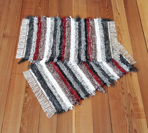 "Kitchen, Bathroom or Door Entry Rug Set - 20"" x 31"" & 20"" x 31"" - Red, Black, Gray & White"