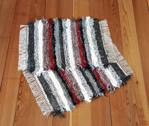 "Bathroom or Kitchen Rug Set - 20"" x 25"" & 20"" x 25"" - Red, Black, Gray & White"