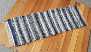 "Kitchen or Hallway Runner Rug - 24"" x 69"" - Navy & Gray"