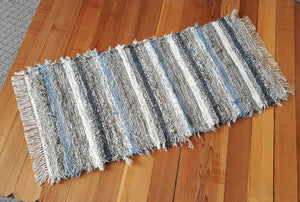 "Kitchen or Hallway Runner Rug - 24"" x 61"" - Dusty Blue & Gray"