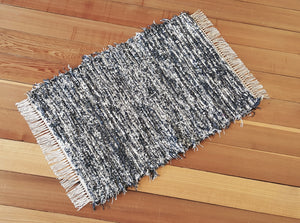 "Kitchen, Bathroom, Bedroom or Door Entry Rug - 24"" x 35"" - Charcoal & Oatmeal"