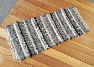 "Kitchen, Bathroom or Door Entry Rug - 24"" x 53"" Black, Gray, Oatmeal, Tan & Brown"