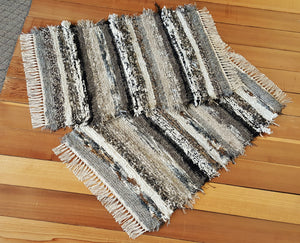 "Kitchen or Bedroom Rug Set - 24"" x 37"" & 24"" x 37"" Black, Gray & Tan"