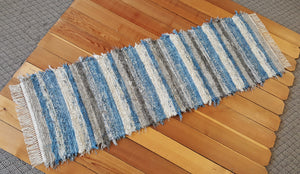 "Kitchen or Hallway Runner Rug - 24"" x 6' 3"" Country Blue, Gray & Oatmeal"