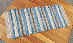 "Kitchen or Hallway Runner Rug - 28"" x 5'  2"" Country Blue, Gray & Oatmeal"