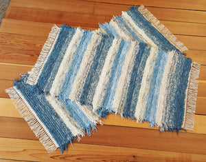 "Kitchen, Bedroom or Door Entry Rug Set - 24"" x 47"" & 24"" x 43"" - Country Blue & Ivory"