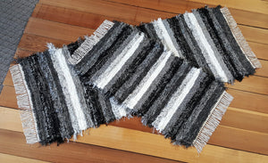 "Kitchen Runner & Small Rug Set -24"" x 60"" & 20"" x 35"" - Black, Gray & White"