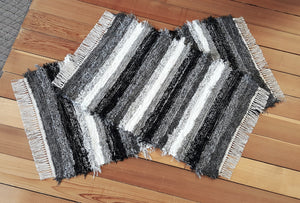 "Kitchen, Bedroom or Door Entry Rug Set -24"" x 49"" & 24"" x 36"" - Black, Gray & White"
