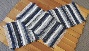 "Kitchen or Bedroom Runner & Medium Rug Set - 2"" x 6' 4"" & 24"" x 42"" -Navy, Gray & White"
