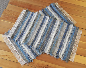 "Kitchen, Bedroom or Door Entry Rug Set - 28"" x 49"" & 28"" x 44""- Country Blue & Gray"